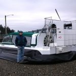 Explorer 22 TDi hovercraft shown with Bryan Phillips near Steamboat Island Washington.