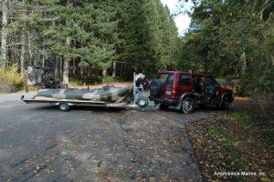 Hovercraft arrives at lake