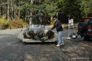 Hovercraft trailer swiveled