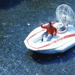 Hovercraft Sevtec Fantastic 1 1975, shown with Barry Palmer driving.