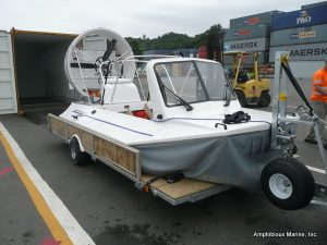 Hovercraft ready to load in container