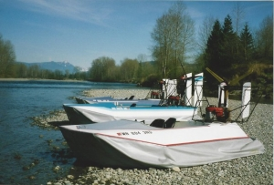 Hovercraft Sevtec Vanguard's, three, 14x7, 1994, on gravel bar on the Skycomish River Near Monroe Washington.