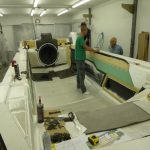 Explorer 24 hovercraft deck mold loading in progress prior to vacuum resin infusion process.