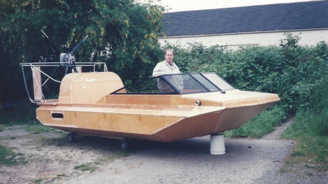 Prototype Explore 20 hovercraft under construction in Bellingham Washington.