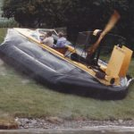 Barry Palmer built hovercraft known as the Yellow Machine, Sevtec 1985.