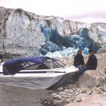 Amphibious Marine Explorer 20 hovercraft at Taku Glacier near Juneau Alaska.