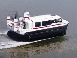 Hovercraft Amphibious Marine Explorer 24 underway.