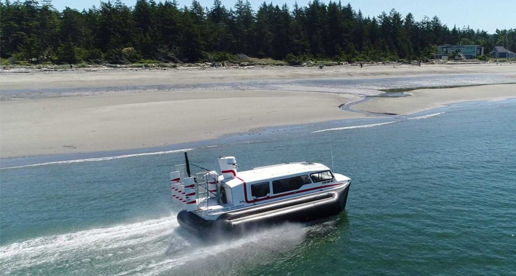 Amphibious Marine Explorer 24 Hovercraft, West Beach Deception Pass , saltwater beach, stern quarter view.