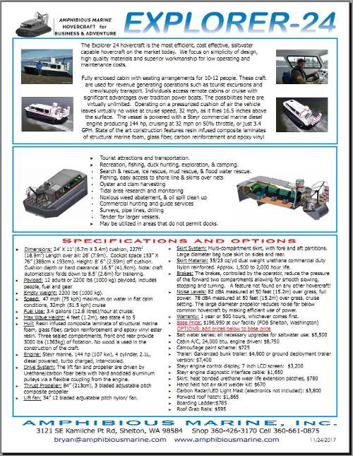 Picture of Explorer 24 hovercraft brochure