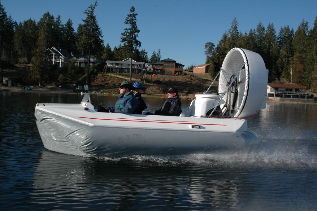 Amphibious Marine Vanguard hovercraft on lake Isabella.