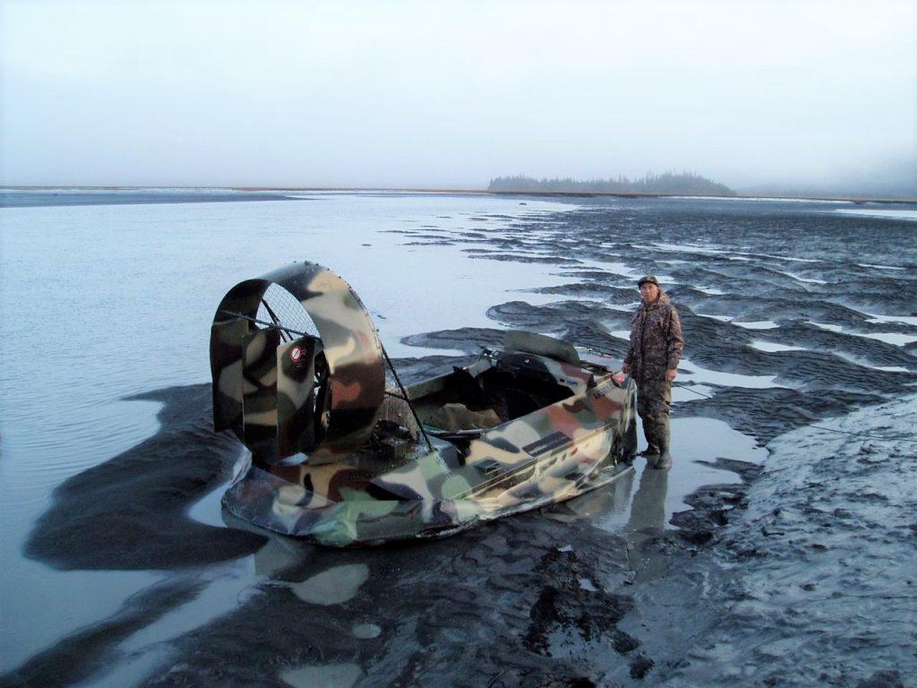 Amphibious Marine Hovercraft model 14D on mudflat